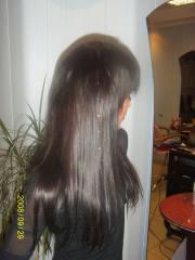 Наращивание натуральных волос с украшением стразами, город Рязань