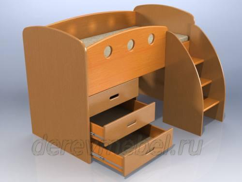 Дарья-2 Кровать чердак с тремя ящиками, город Рязань