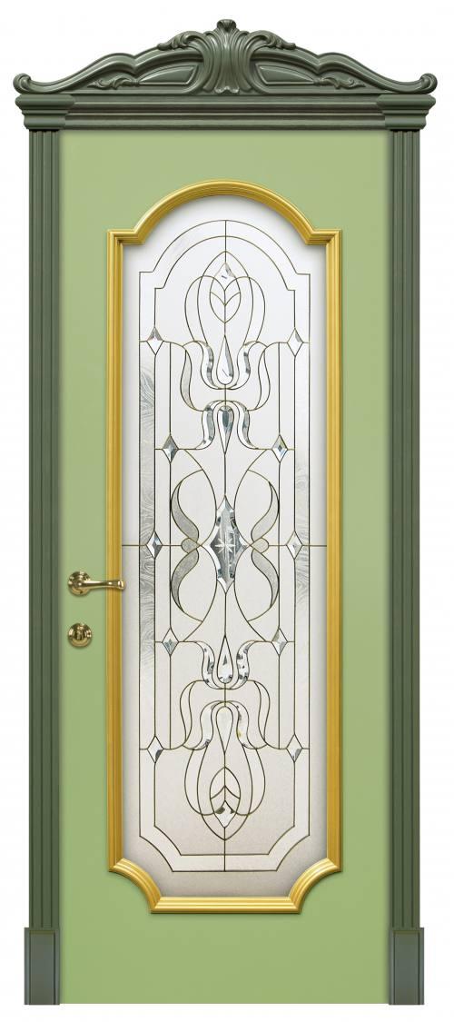 Дверь Эмаль Женева Ф Фисташка Витраж Палермо, город Рязань