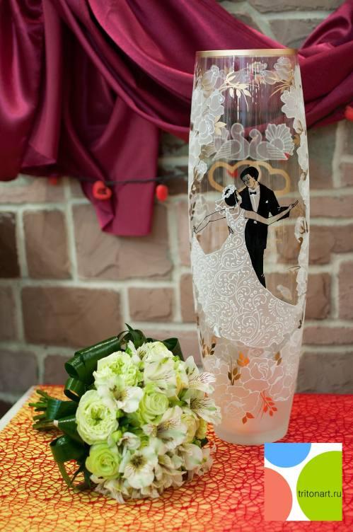 Свадебная ваза с именами молодоженов и индивидуальным пожеланием, город Рязань
