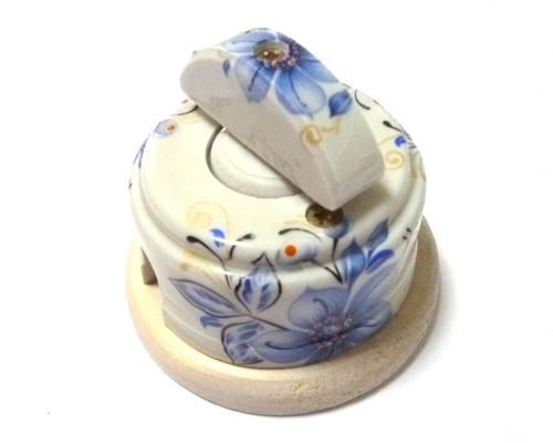 Ретро выключатель с керамической ручкой полумесяц, «Лазурь», город Рязань
