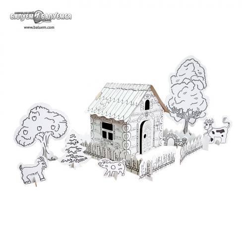 Деревенька - 3D игрушка-раскраска из гофрокартона. Арт.191, город Рязань