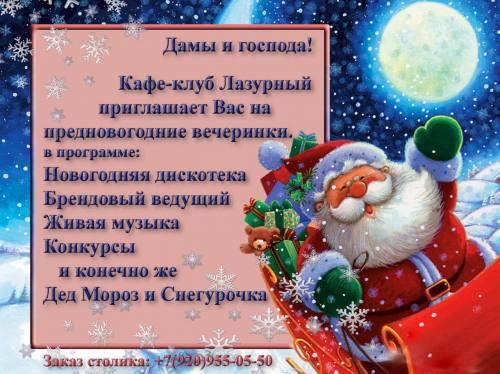 """Новогодние корпоративы в кафе """"Лазурный"""", город Рязань"""