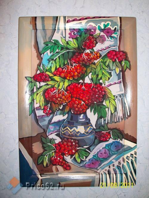 Батик. Роспись по натуральному шелку. Рябина., город Рязань