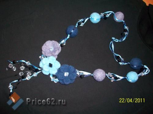 """Бусы ручной работы """"Синие цветы"""", город Рязань"""