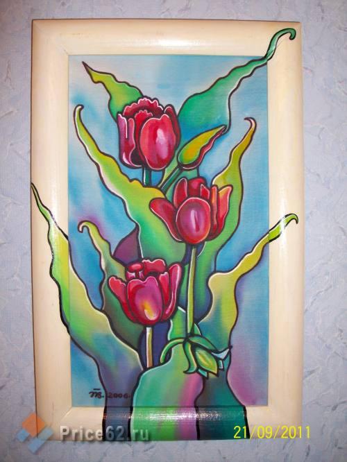 Батик. Роспись по натуральному шелку. Тюльпаны., город Рязань