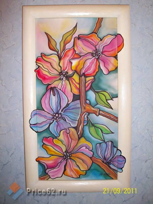 Батик. Роспись по натуральному шелку. Яблоневый цвет., город Рязань