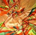 платок атласный с ручной росписью, город Рязань