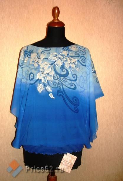 блуза из шелка с ручной росписью, город Рязань