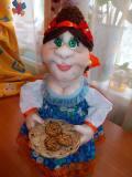 Корзинщица Зина. Интерьерная текстильная кукла, Рязань